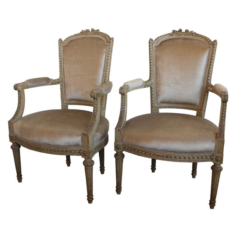 Pair Of Cream Antique Louis Xvi Living Room Arm Chairs At 1stdibs