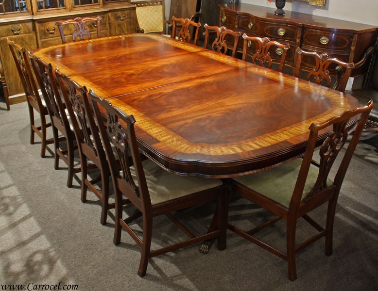 Duncan phyfe banded flamed mahogany large dining table for for Duncan 5 dining room table