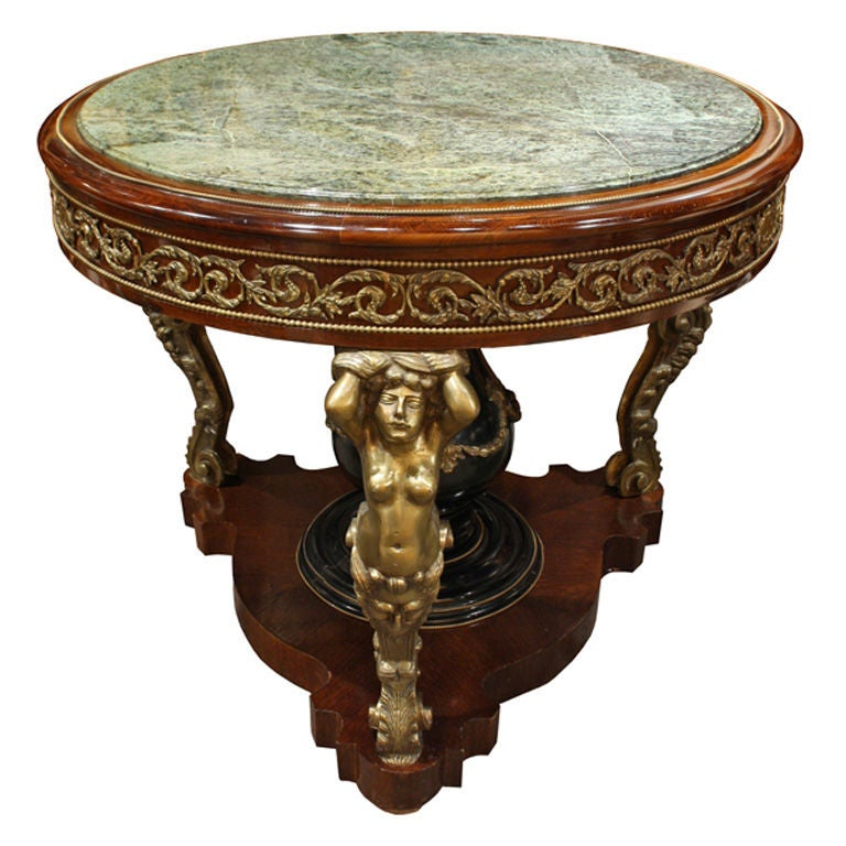 Foyer Table With Marble Top : Louis xv round marble top hall table with brass accents at
