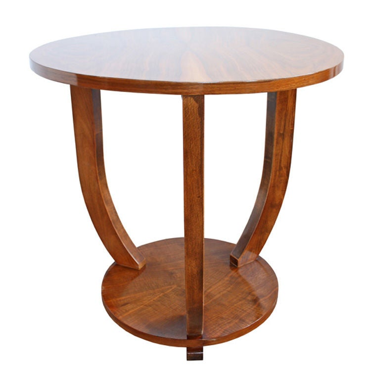 this antique walnut art deco round parlor sofa end table is no longer