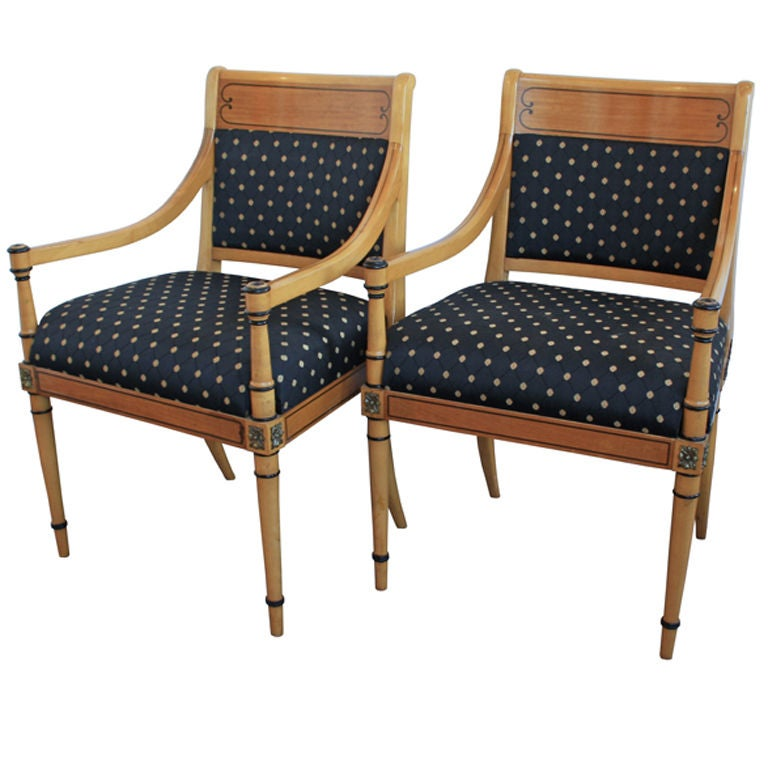 this pair of regency living room parlor accent arm chairs is no longer