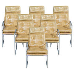Set of Six Distressed Italian Leather Chairs