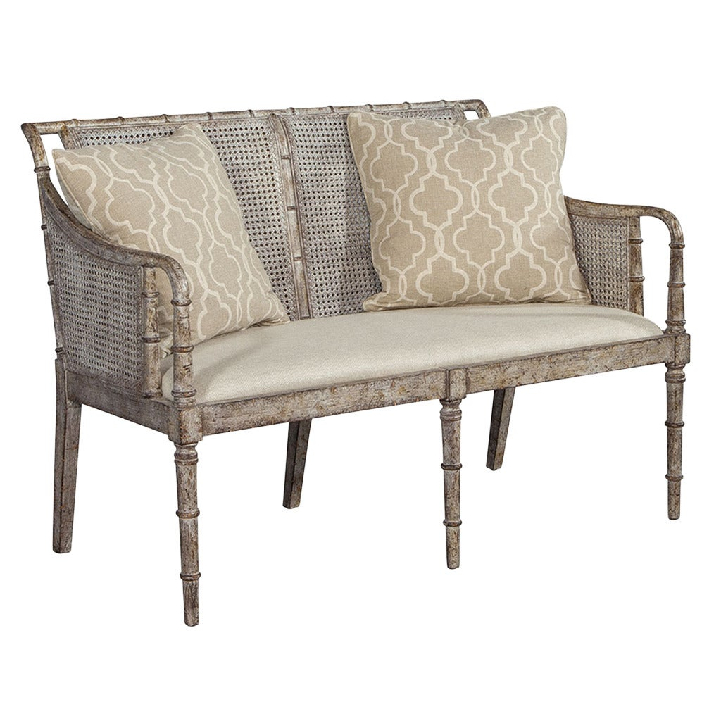 Distressed Cane Settee For Sale At 1stdibs