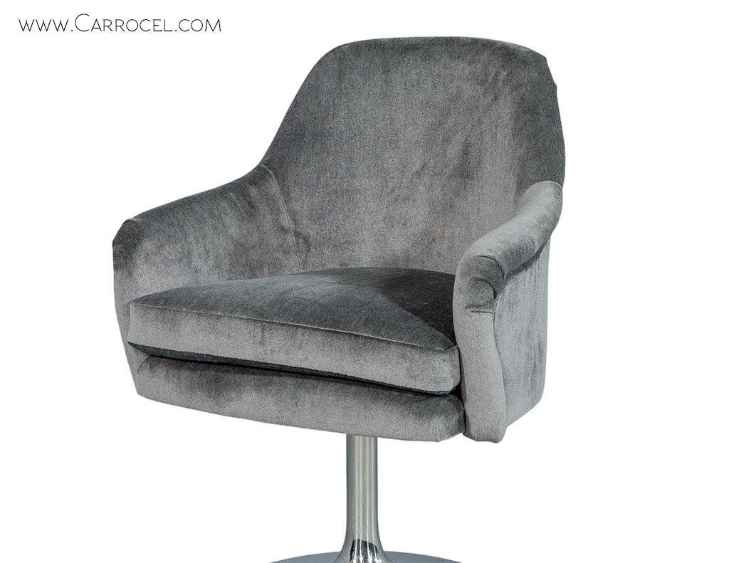 Pair Of Midcentury Swivel Chairs In Grey Mohair Velvet At