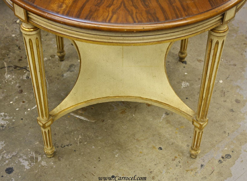 antique louis xvi cream and walnut round sofa end table at 1stdibs