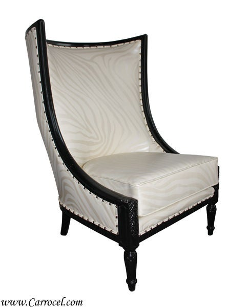 This Is A Custom Made Wing Chair Done In A Sleek Black Lacquered Finish  Contrasted Wonderfully