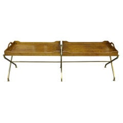 Vintage Walnut Brass Tray Serving Coffee Table by Baker