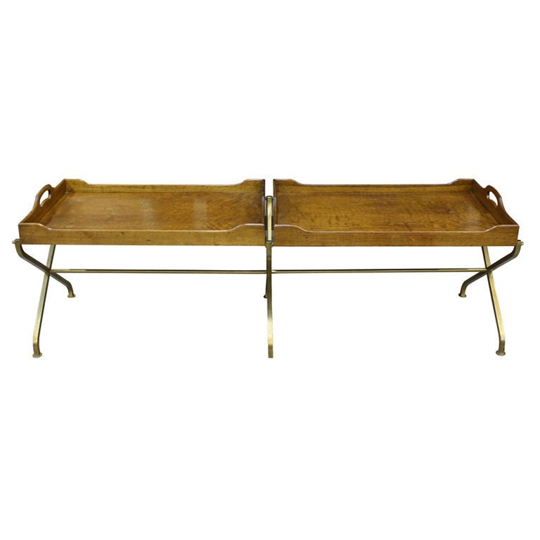 Vintage Walnut Brass Tray Serving Coffee Table By Baker At