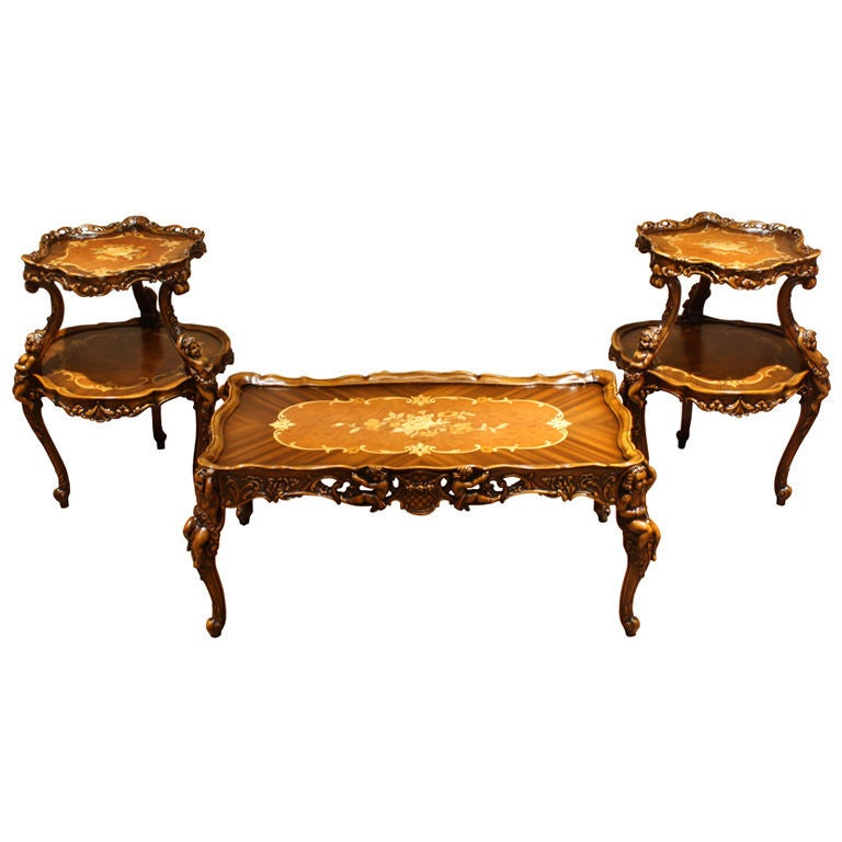 Antique 3 PC Hand-Carved Inlaid Coffee Table Parlor Set At
