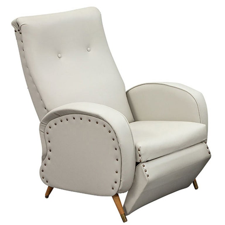 Unique Vintage Italian 1960s Reclining Leather Armchair at ...