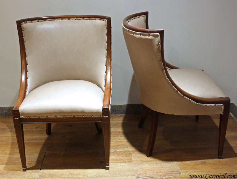 Pair Of Antique Leather Mahogany Living Room Chairs At 1stdibs