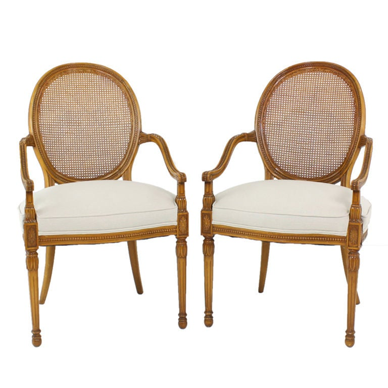 Pair Of Vintage French Cane Back Accent Arm Chairs At 1stdibs