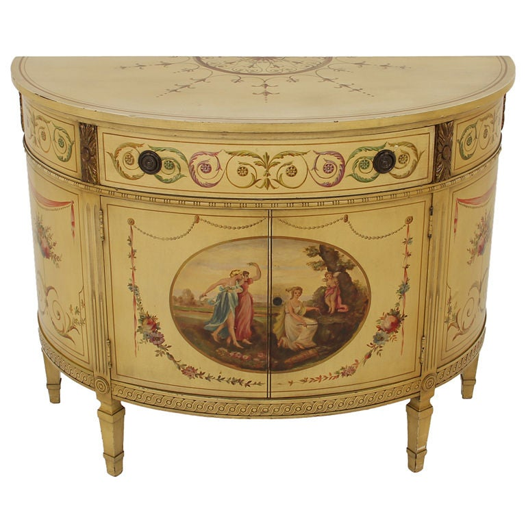 Antique hand painted adams style demi lune commode cabinet for Hand painted chests