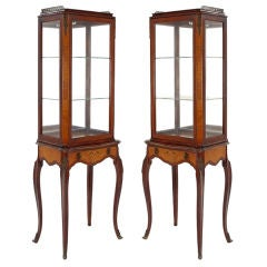 Antique Pair of Glass French Louis XV Curio Vitrine Cabinets
