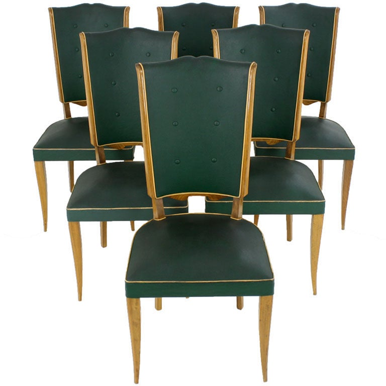 Set Of 6 Antique French Art Deco Dining Chairs From France At 1stdibs