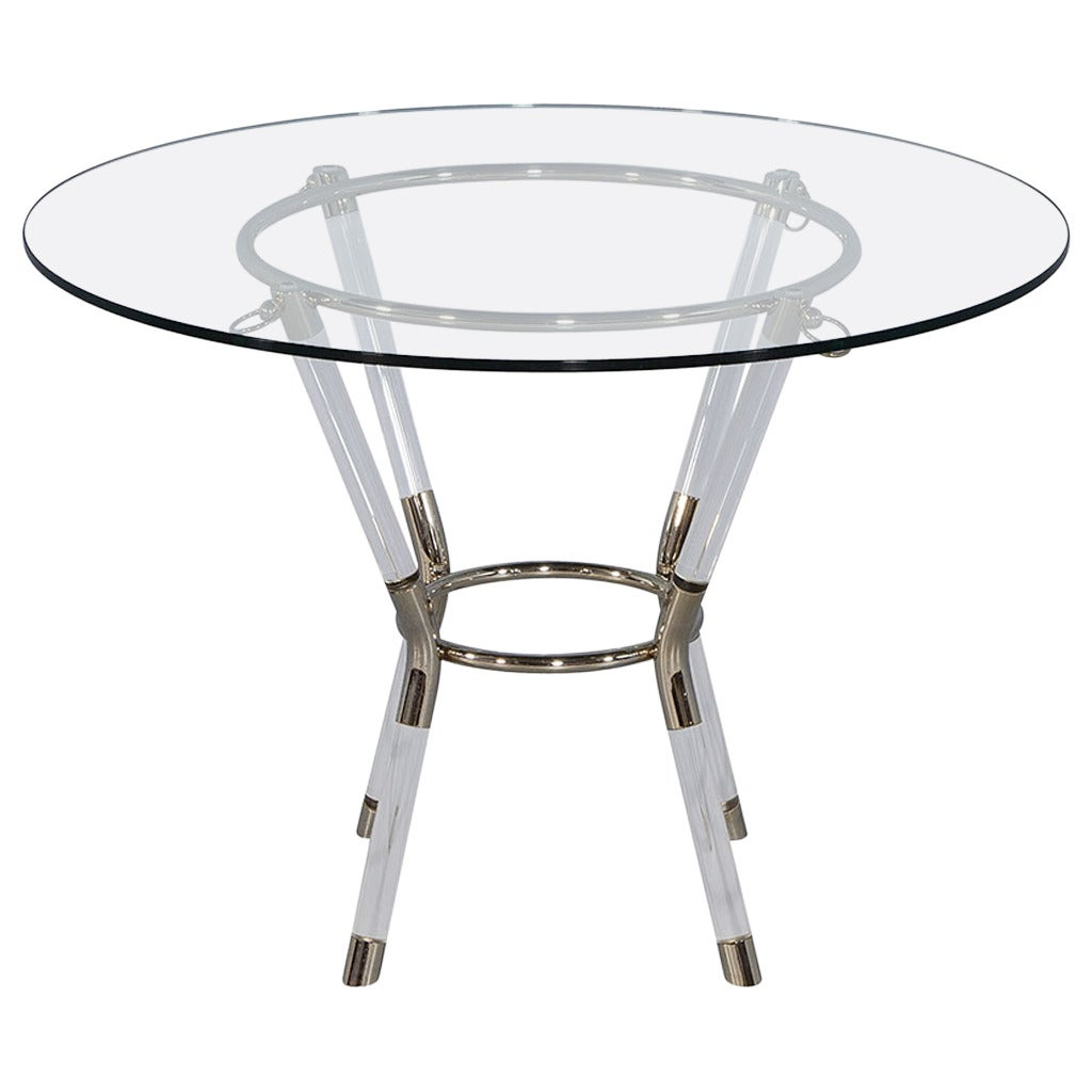 lucite and chrome end table for sale at 1stdibs. Black Bedroom Furniture Sets. Home Design Ideas