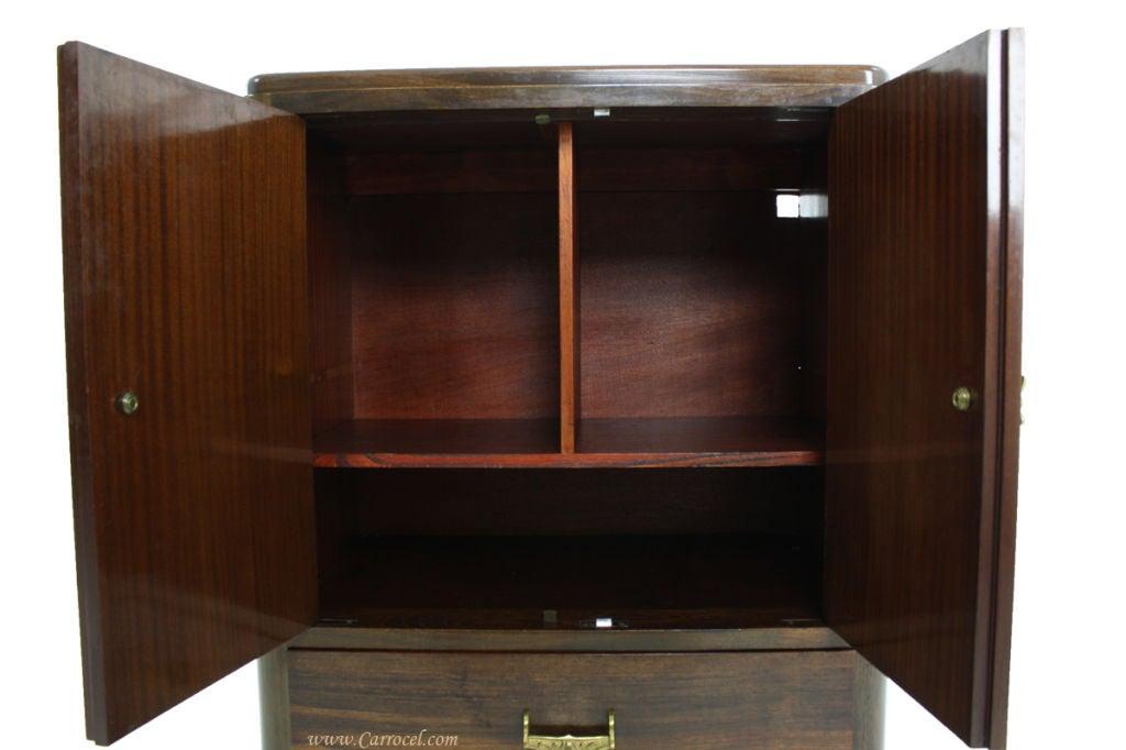 Antique European Walnut Art Deco Bar Cabinet From France