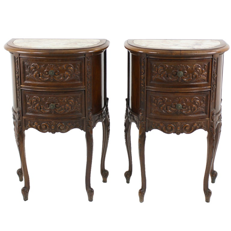 Antique Marble Side Table Reading: Pair Of Antique Louis XV Solid Walnut Marble Top Demi Lune