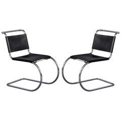 Pair of Italian Mid-Century Modern Chrome Accent Chairs