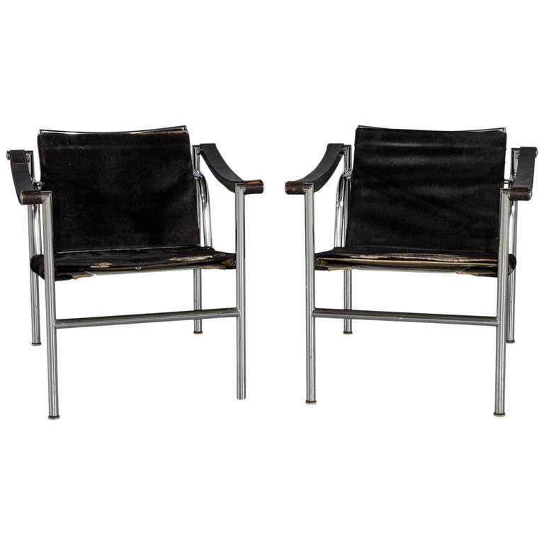 pair of le corbusier lc1 signed armchairs designed in 1929 for cassina at 1stdibs. Black Bedroom Furniture Sets. Home Design Ideas