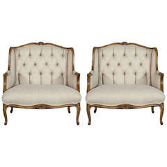 Pair of Louis XV Style Oversize Bergeres Restored by Carrocel