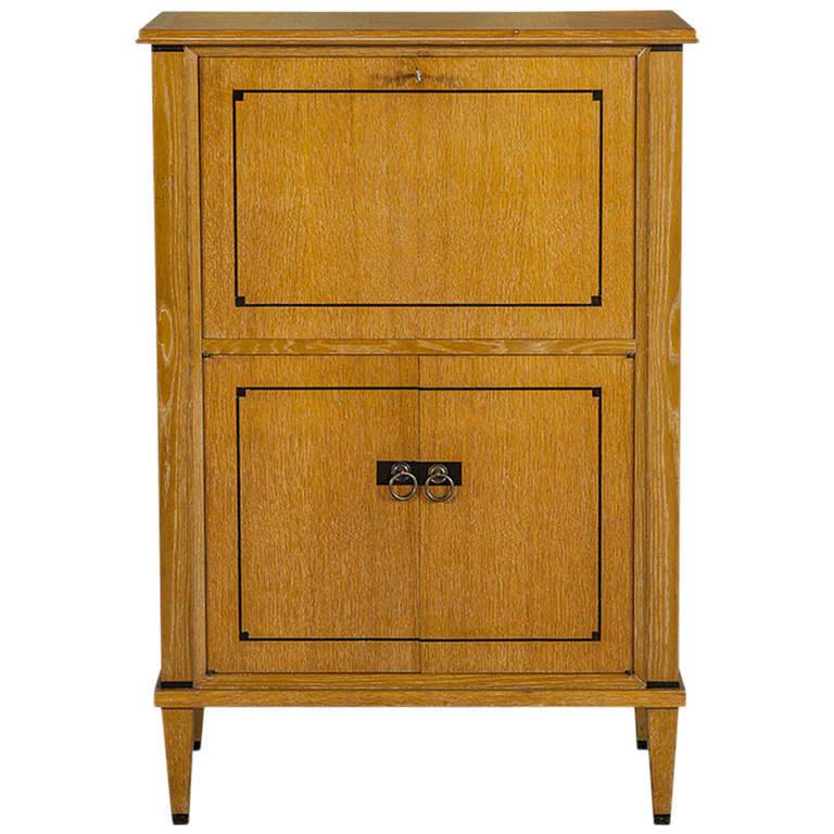 French Art Deco Bar Cabinet In Cerused Oak At 1stdibs
