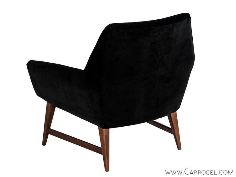 Pair of Mid Century Modern Lounge Chairs in Black Velvet by Raphael at 1stdibs
