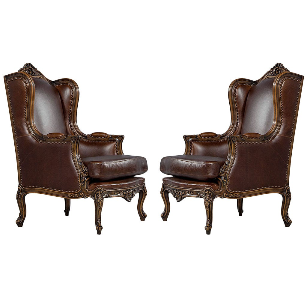 Affordable pair of mahogany leather louis xv wing chairs with maison du monde - Maison du monde chaise louis ...