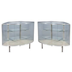 Pair of Brushed Steel Bow Front Corner Display Cases