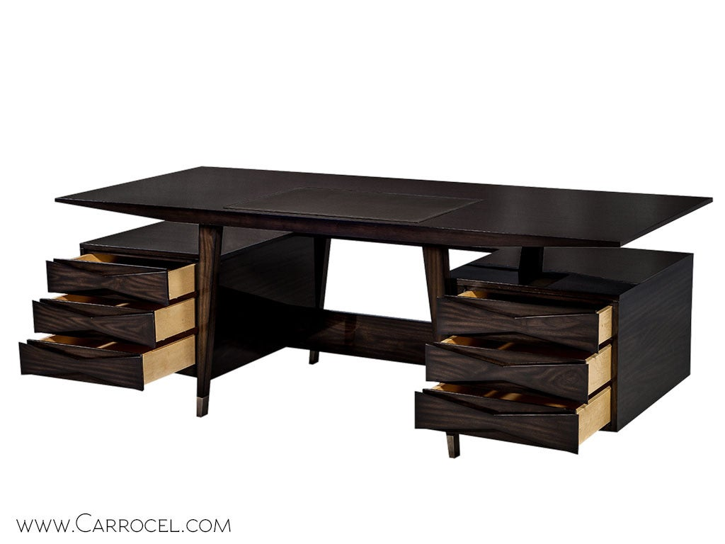 Art Deco Carrocel Custom Floating-Top Mid Century Executive Desk For Sale