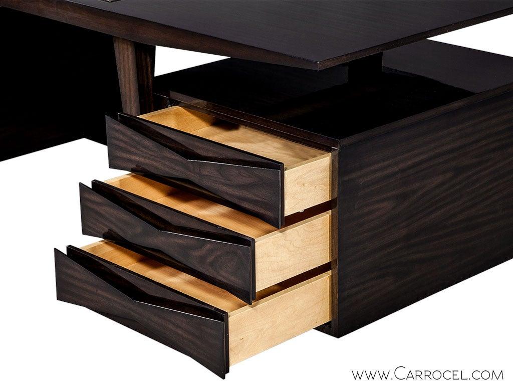 Leather Carrocel Custom Floating-Top Mid Century Executive Desk For Sale