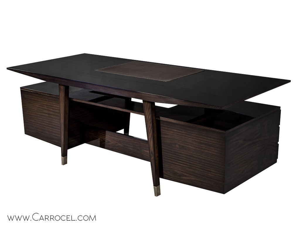Canadian Carrocel Custom Floating-Top Mid Century Executive Desk For Sale