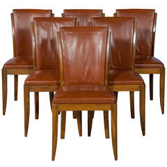 Set of Six French Art Deco Modernist Dining Chairs