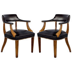 Pair of Banker's Library Chairs Restored in Black Leather