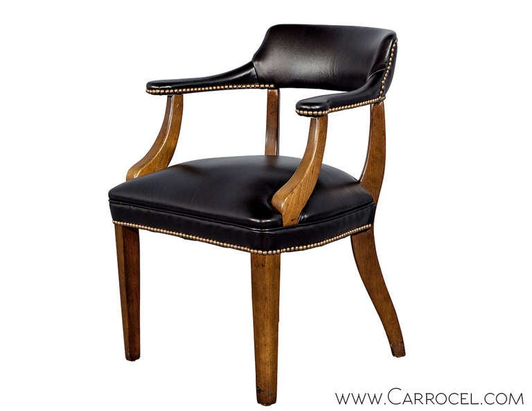 Pair Of Bankeru0027s Library Chairs Restored By Carrocel In Black Leather,  Circa 1940s, English