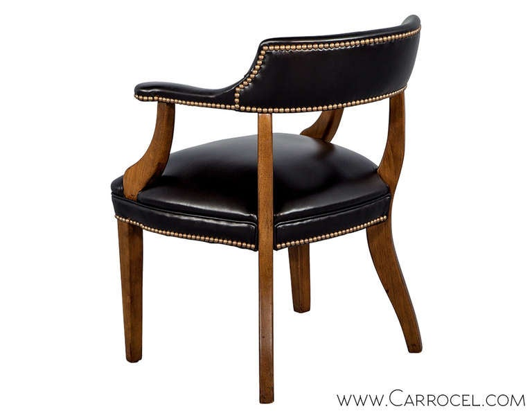 Banker Chair Pair Of Banker S Library Chairs Restored In Black Leather At  1stdibs