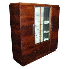 Antique Crotch Mahogany Art Deco Armoire Cabinet from France