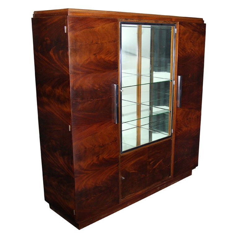 antique crotch mahogany art deco armoire cabinet from france at 1stdibs. Black Bedroom Furniture Sets. Home Design Ideas