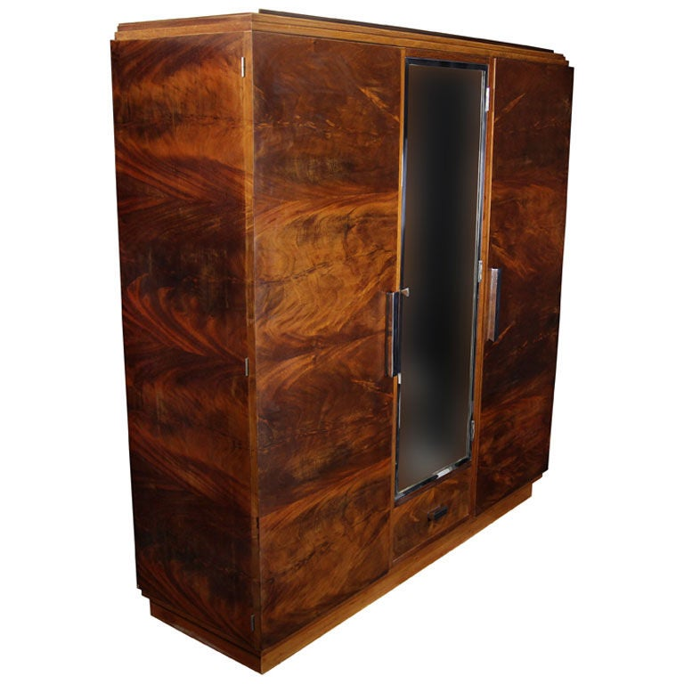 antique mahogany art deco mirrored armoire cabinet from france at 1stdibs. Black Bedroom Furniture Sets. Home Design Ideas