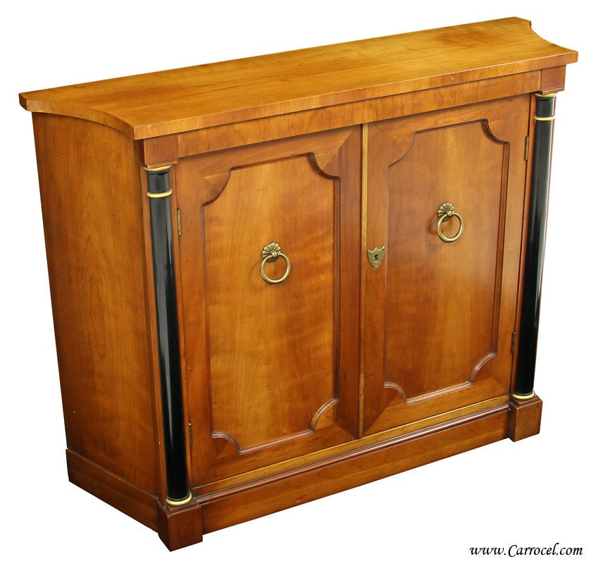 storage console cabinet cherry wood empire style console commode cabinet by baker 26867
