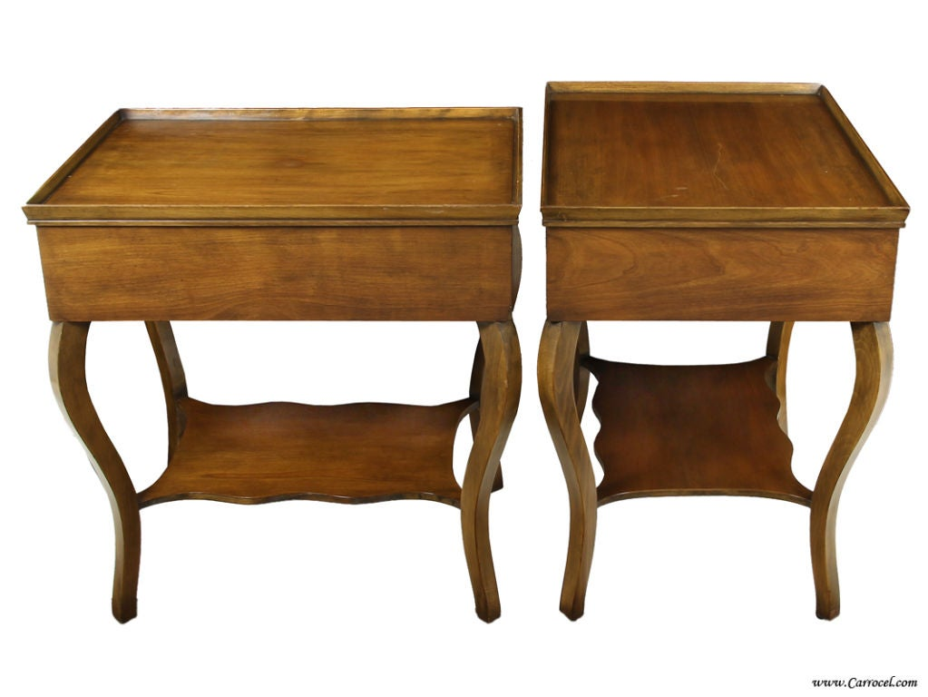 Pair Of Cherry Wood French Country End Tables By Baker 2