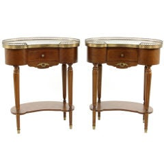 Pair of Mahogany Louis XVI Kidney Shaped Marble Top End Tables
