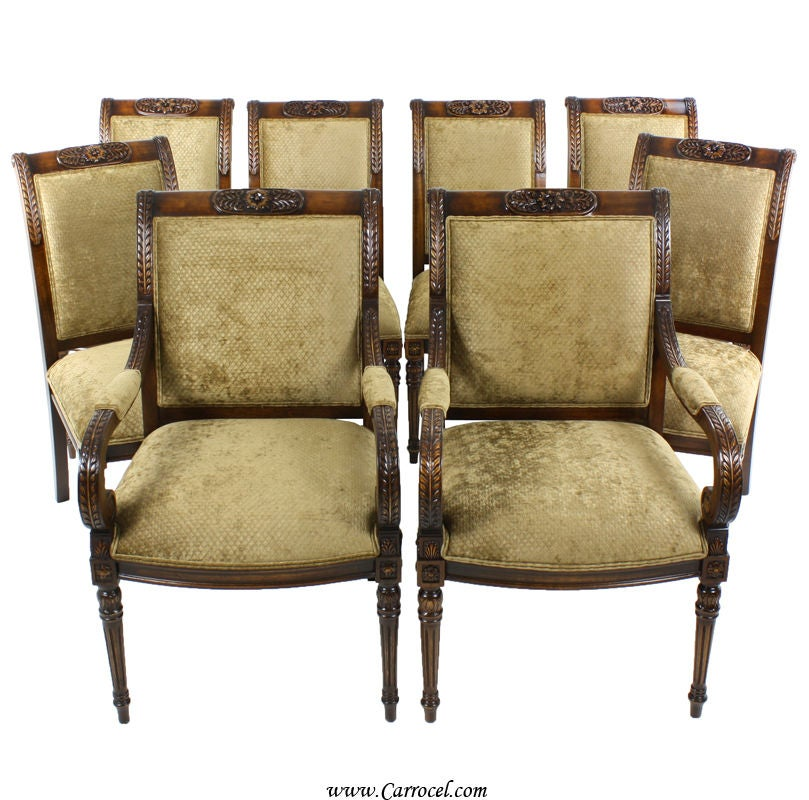 set 8 custom empire upholstered dining room chairs by ej victor at