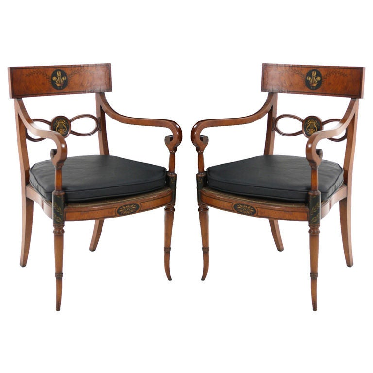 Pair of antique hand painted regency living room arm for Pair of chairs for living room