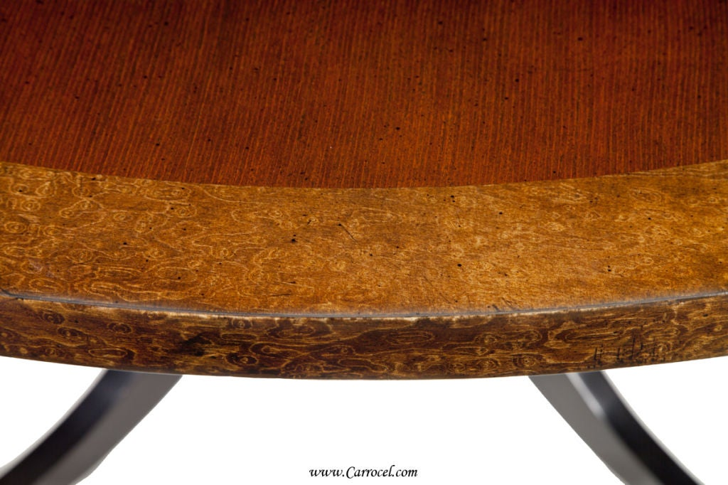 Round Cherry Top Burled Maple Duncan Phyfe Pedestal Dining