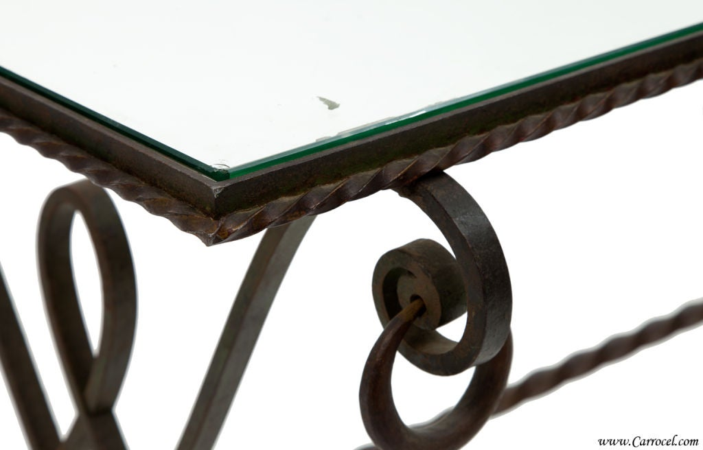 Antique Wrought Iron Glass Top Coffee Table From France 2