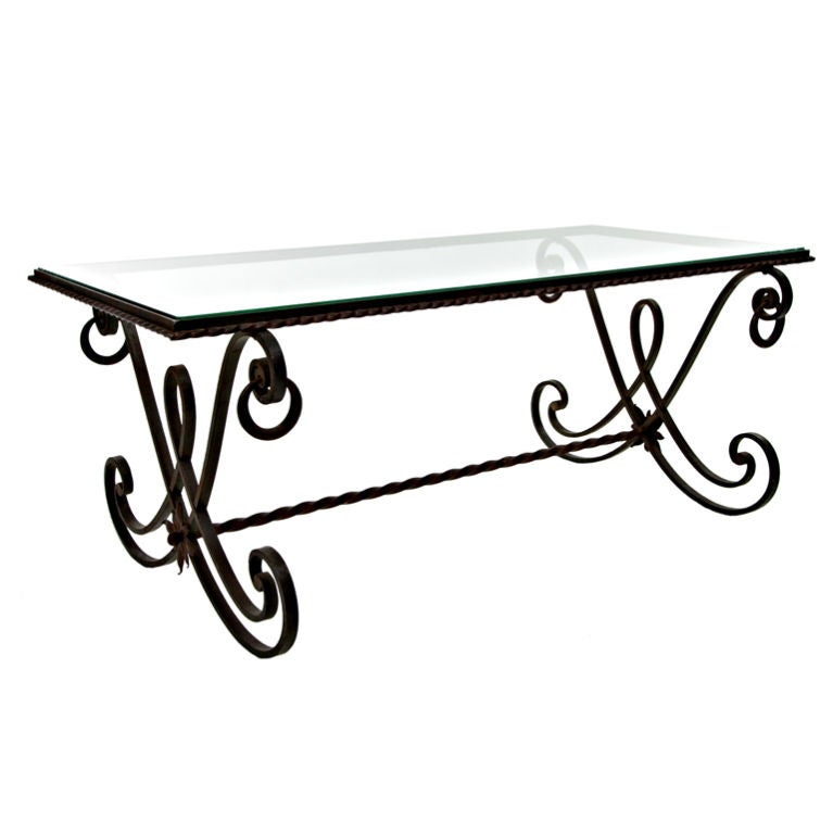 Antique Wrought Iron Glass Top Coffee Table From France 1