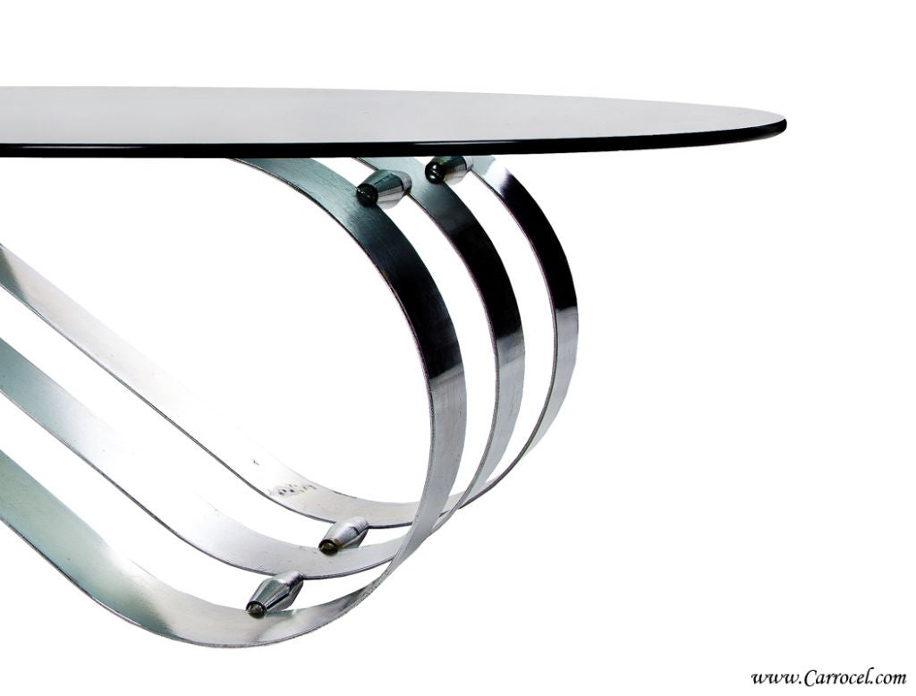 Vintage Art Deco Modern Oval Coffee Table With Metal Base From France At 1stdibs