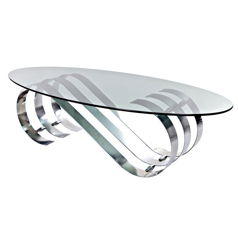 Vintage Art Deco Modern Oval Coffee Table With Metal Base From France