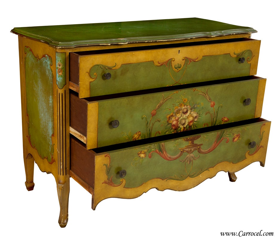 Antique american hand painted chest of drawers commode at for Hand painted chests